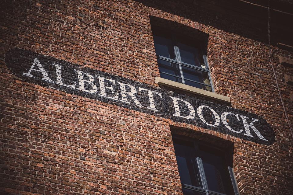 Albert Dock, Liverpool, Sign, Brick Wall, Wall Paint