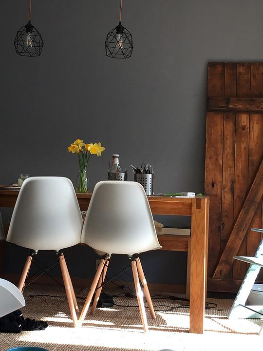 Living Room, Chair, Lamp, Table, Flower, Grey