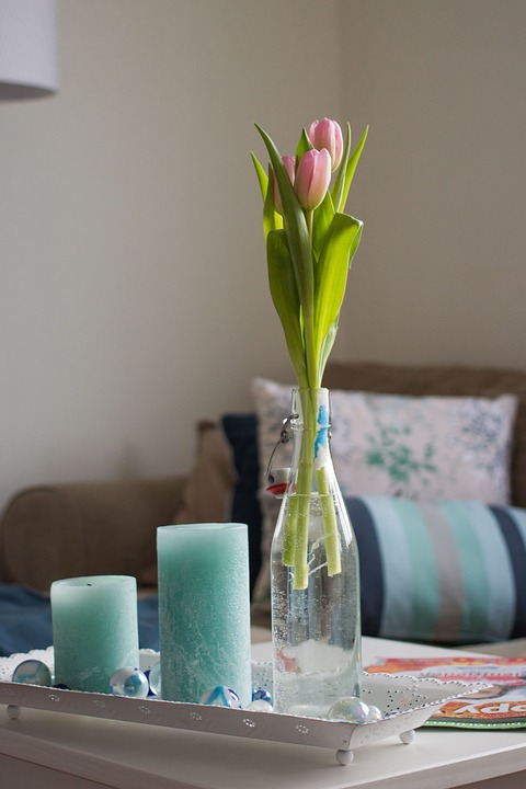 Living Room, Decoration, Tulips, Candlestick, Vase