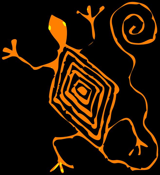 Lizard, Black, Orange, Stripes, Animal, Tail, Abstract