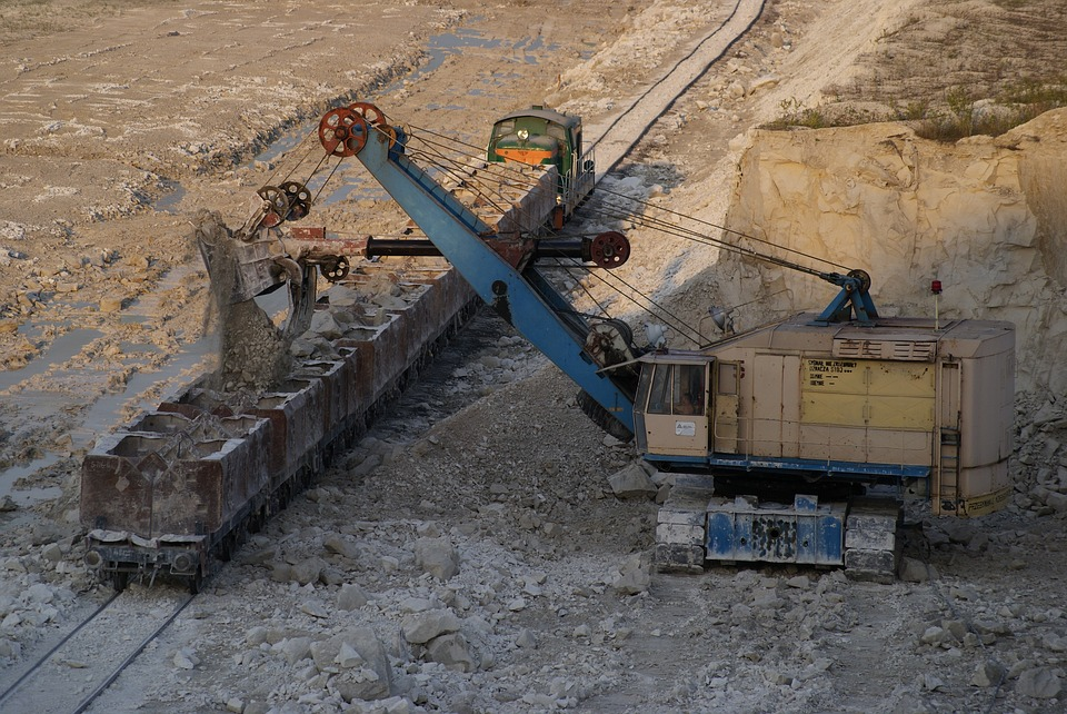 Mine, Chalk, Excavator, Train, Loading, Chelsea