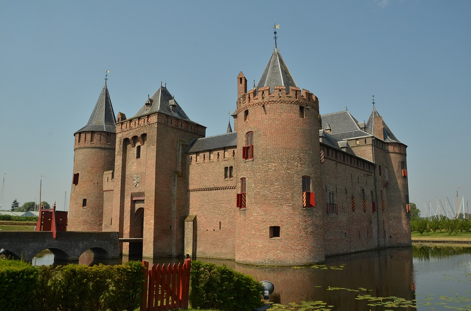Netherlands, Castle, Lock, Muiderslot, Moat, Water, Air