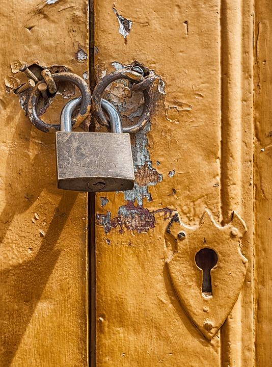 Padlock, Door, Lock, Key Hole, Macro, Close-up