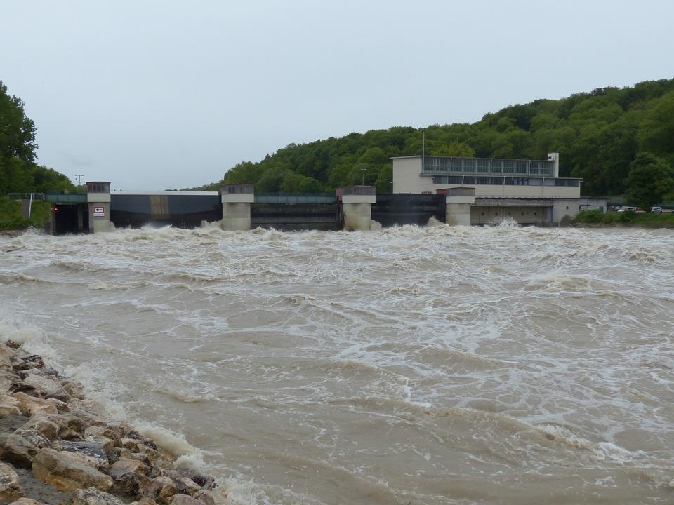 Lock, Weir, High Water, Dam, Barrage, Power Plant