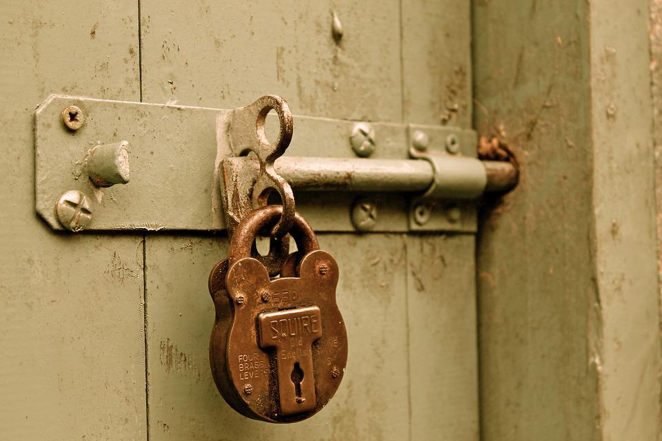 Bolt, Padlock, Door, Locked, Paint, Gate, Brass, Lock