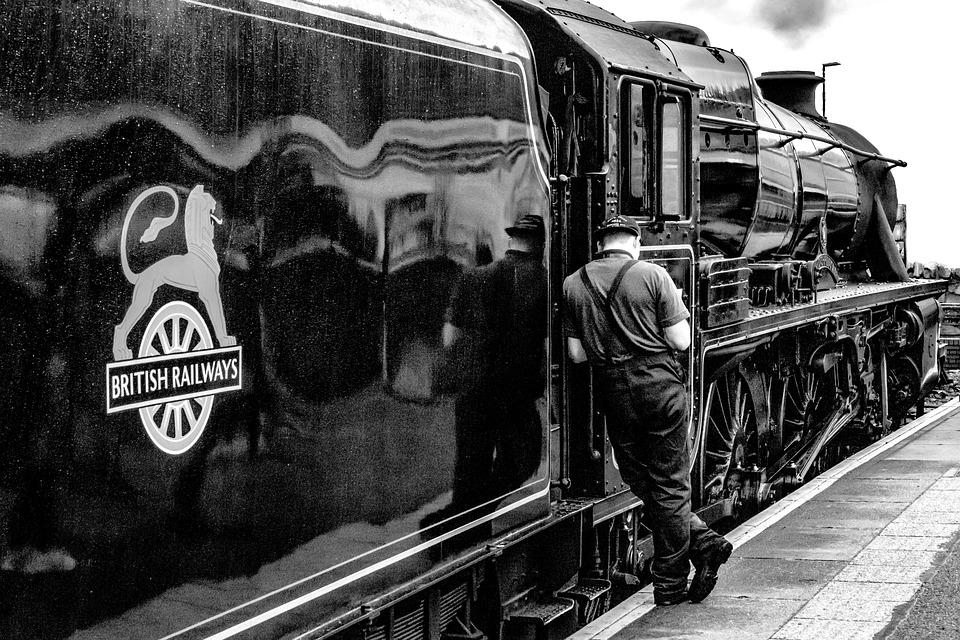 Railway, Locomotive, Loco, Break, Black And White