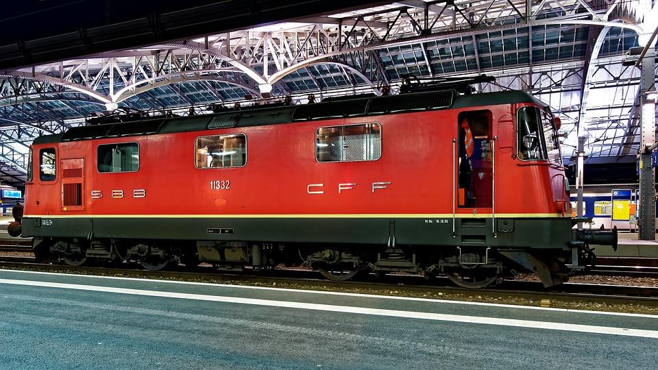 Red, Locomotive, Railway Station, Lausanne, Switzerland
