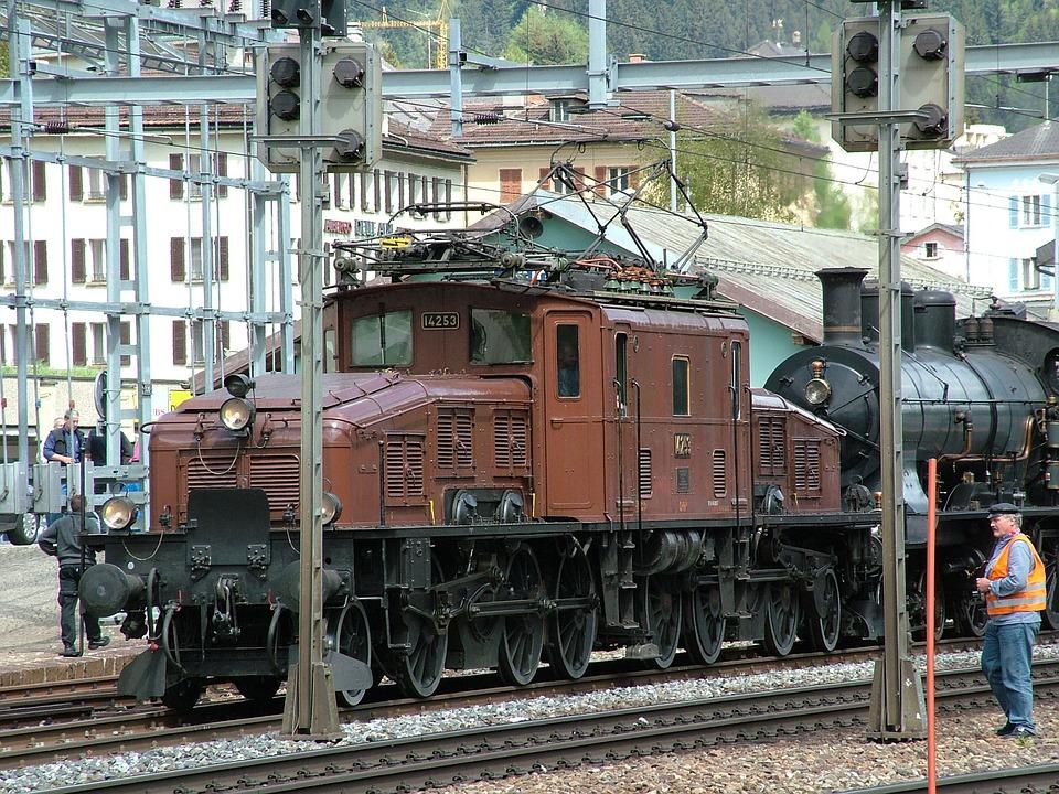 Railway, Locomotive, Historically, Switzerland, Airolo