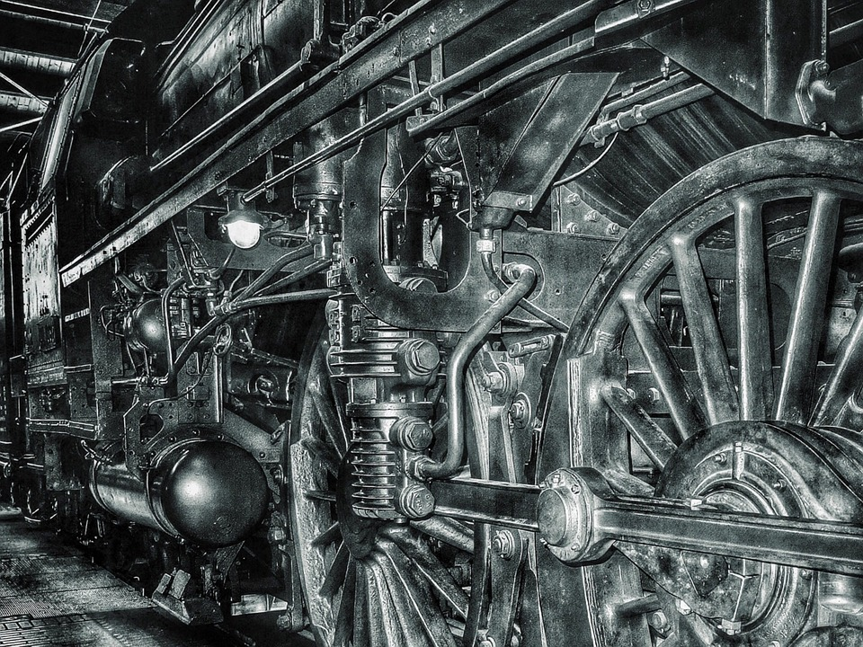Railway, Black And White, Steam Locomotive, Locomotive