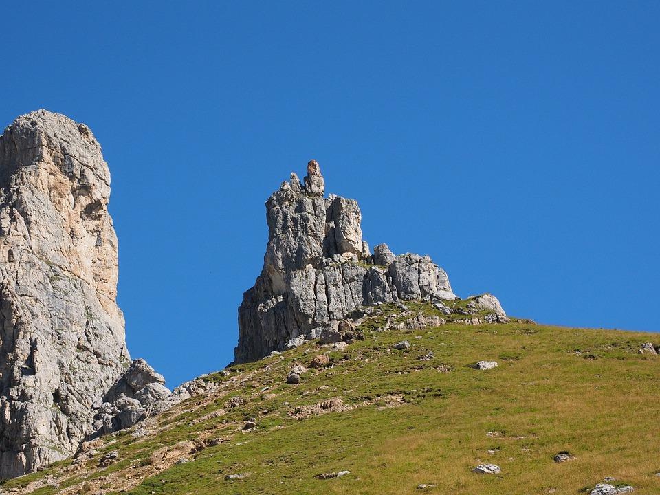 Sella, Sella Pass, Cliff, Locomotive, Mountains