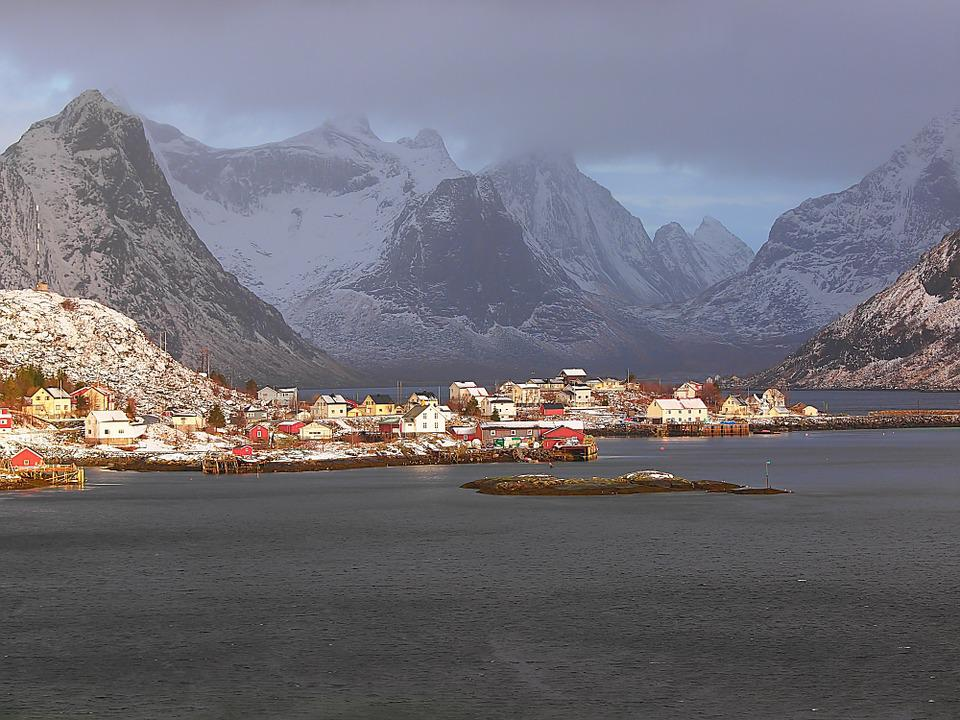 Norway, Reine, Lofoten, Sea, House, Mountain