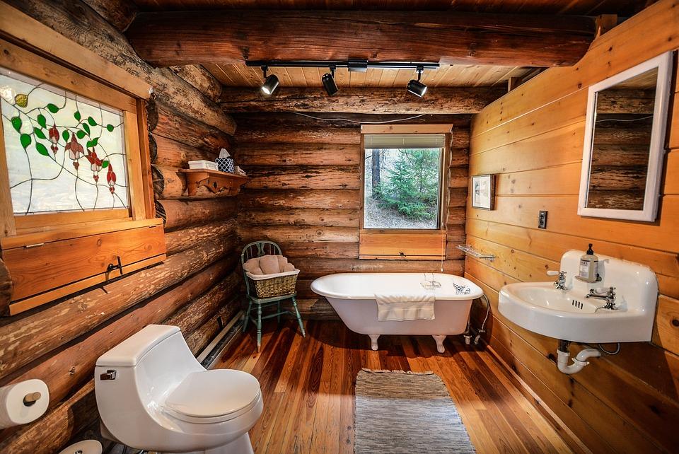 Log Home, Log, Home, Bathroom, Rustic, Country, Pioneer