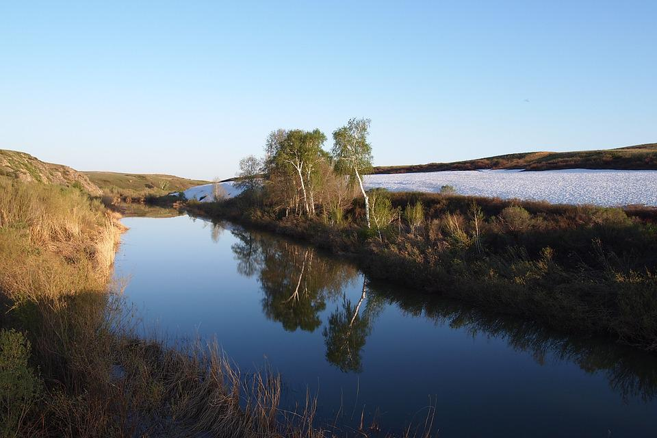 Log, River, Spring, Sky, Water, Sunset