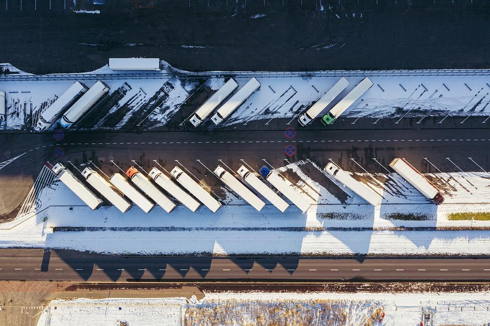 Drone, Truck, Logistics, Winter, Snow, Aerial