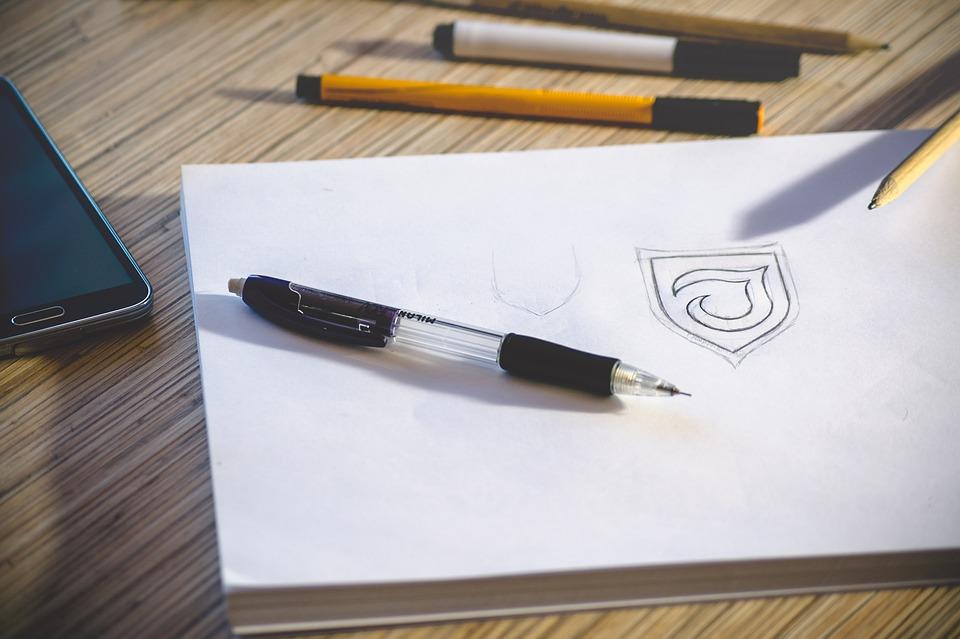 Desk, Workspace, Pencil, Paper, Logo, Sketch, Work