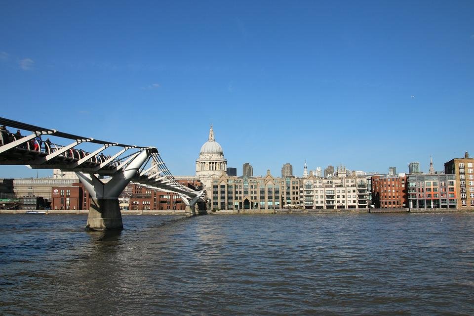 London, Millennium, Bridge, Thames, City, England