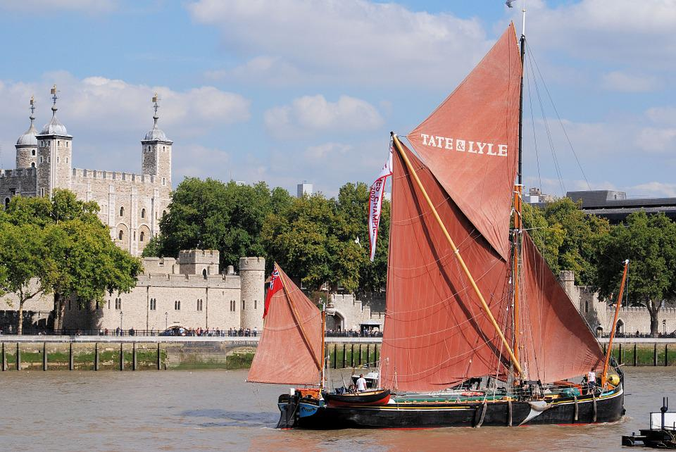 Tower Of London, Sailing, Barge, River, Thames, London