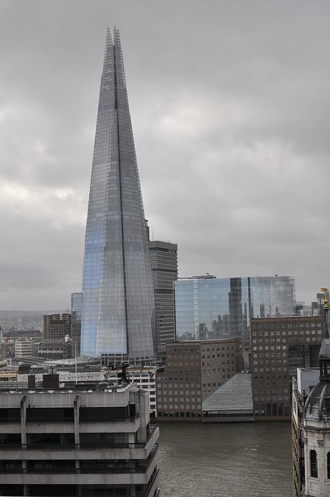 Shard, London, Skyline, Cityscape, Rainy Day