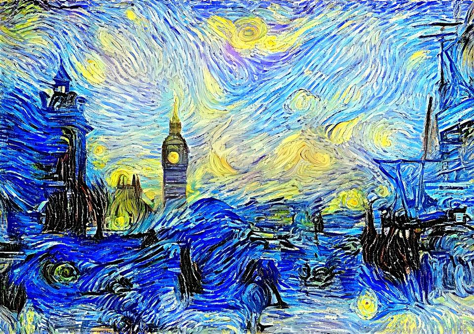 London, Parody, Spoof, Acrylic, Creative, Canvas, Sky