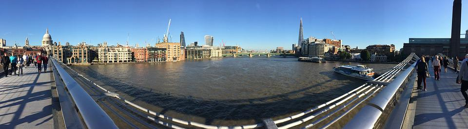 London, Panoramic, Thames, St Pauls, Cathedral, England