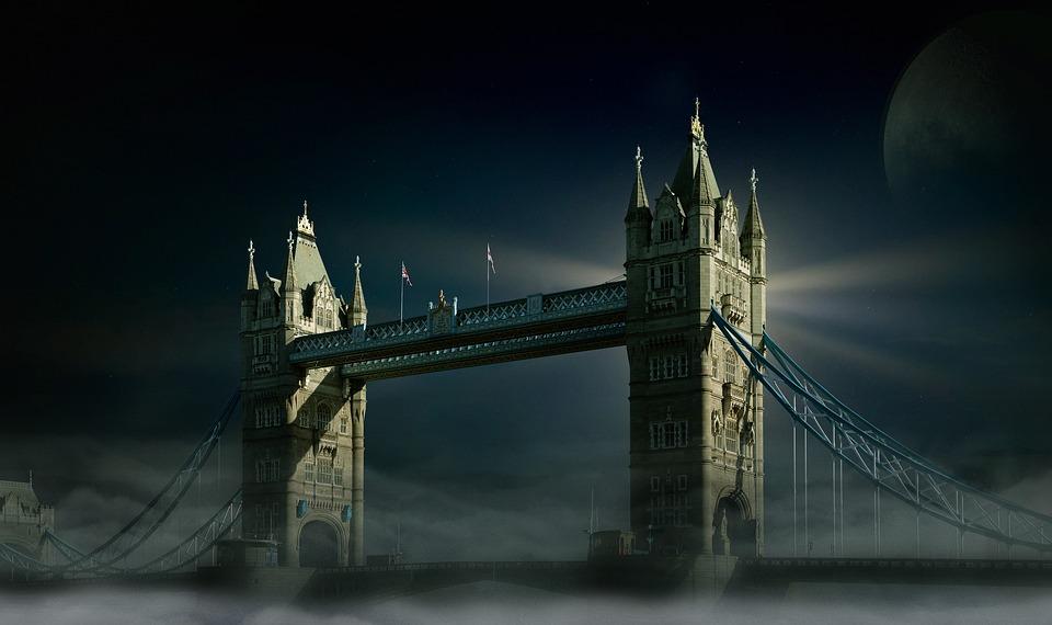 Tower Bridge, London, Moon, Fog, Sky, Luna, Full Moon