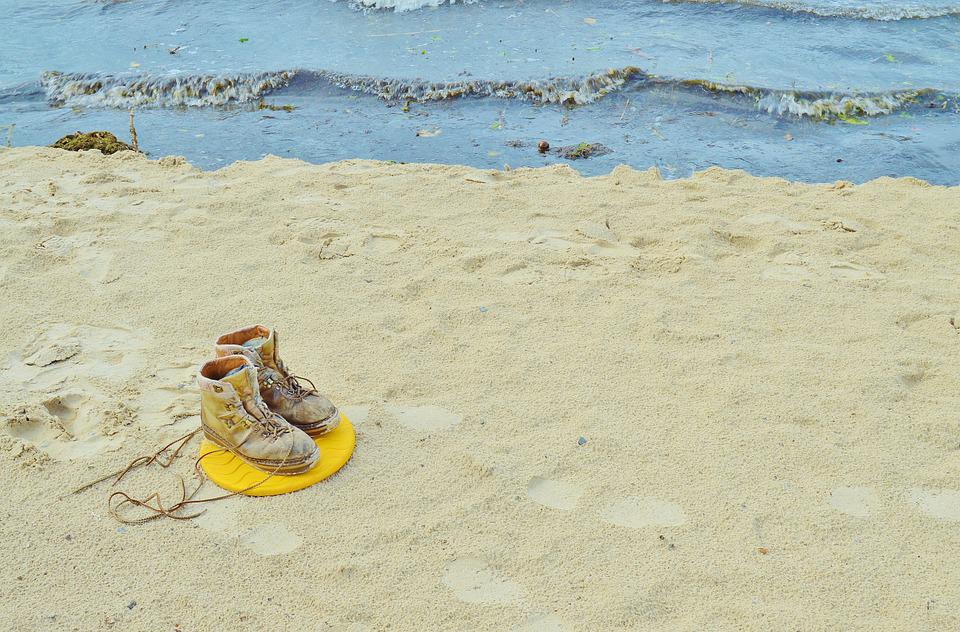 Beach, Sand, Shoes, Flotsam, Foot-pure, Lonely