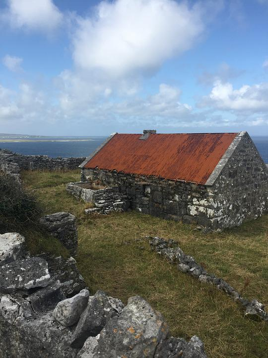Lonely Cottage, Ruined Cottage, Irish Islands, Old