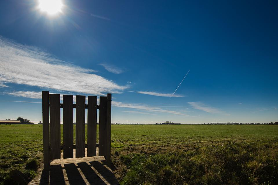 Fence, Landscape, Lonely, Shadow, Sun Blue Sky