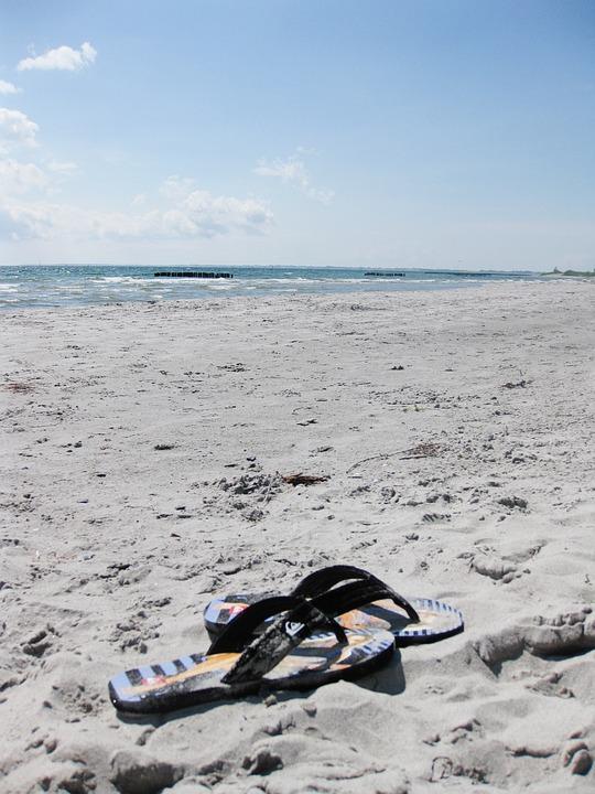 Beach, Flip Flops, Sea, Denmark, Lonely, Slippers, Sand