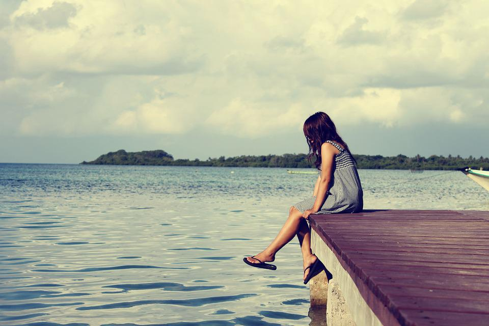 Sea, Pier, Female, Alone Woman, Sitting, Lonely, Relax