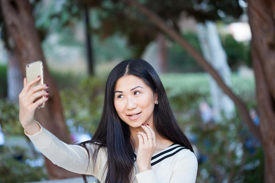 Selfie, Girl, Woman, Asian, Smile, Hair, Black, Long