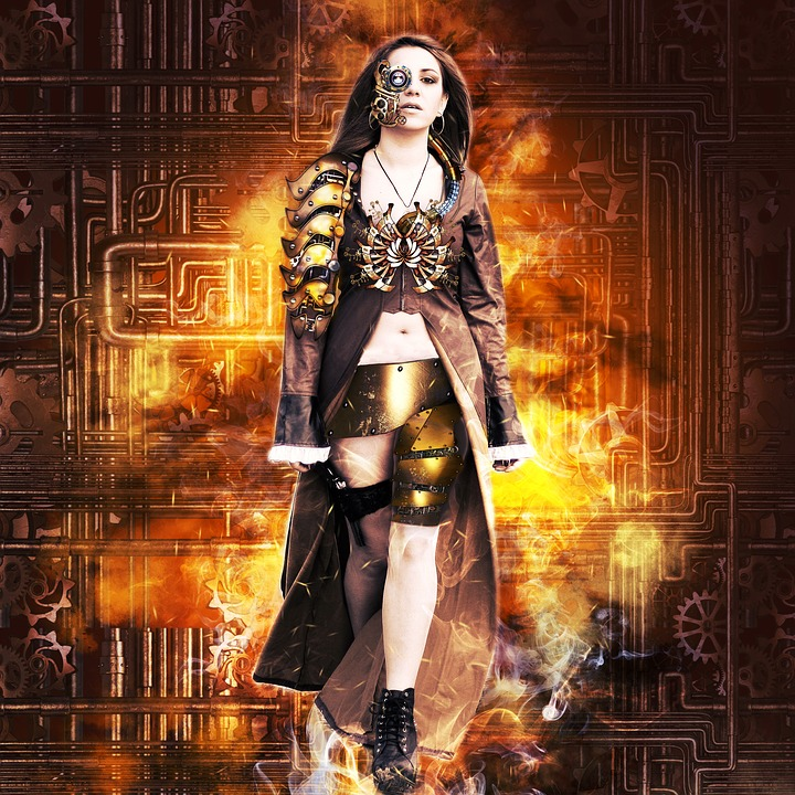 Girl, Steampunk, Long Coat, Gear, Background, Eye, Fire