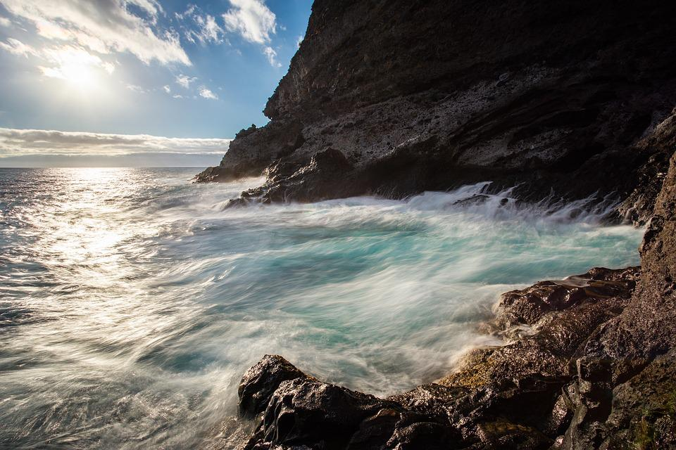 Sea, Holiday, Sun, Long Exposure, Water, Surf, Rock