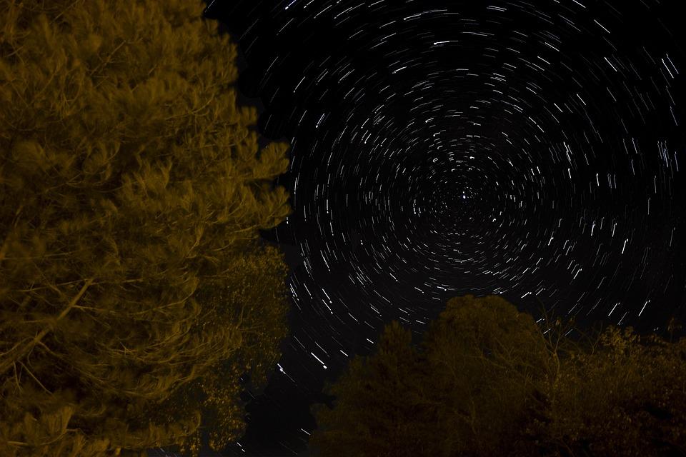 Star, Trail, Long, Exposure, Night, Light, Black