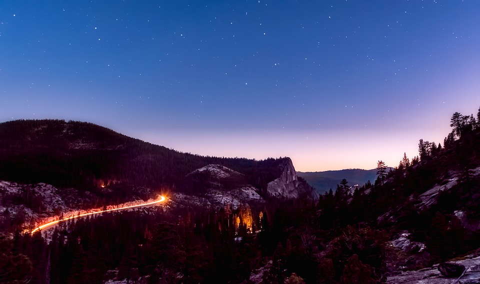 Mountains, Sky, Stars, Long Exposure, Panorama
