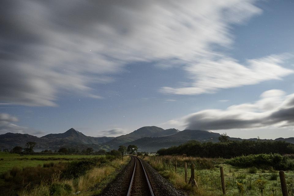 Long Exposure, Railroad, Fence, Train Tracks, Railway
