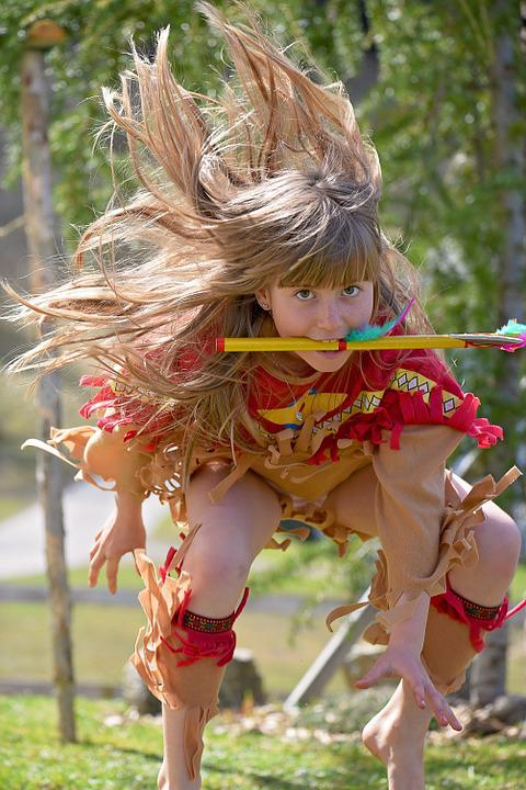 Child, Girl, Indians, Play, Blond, Long Hair, Out