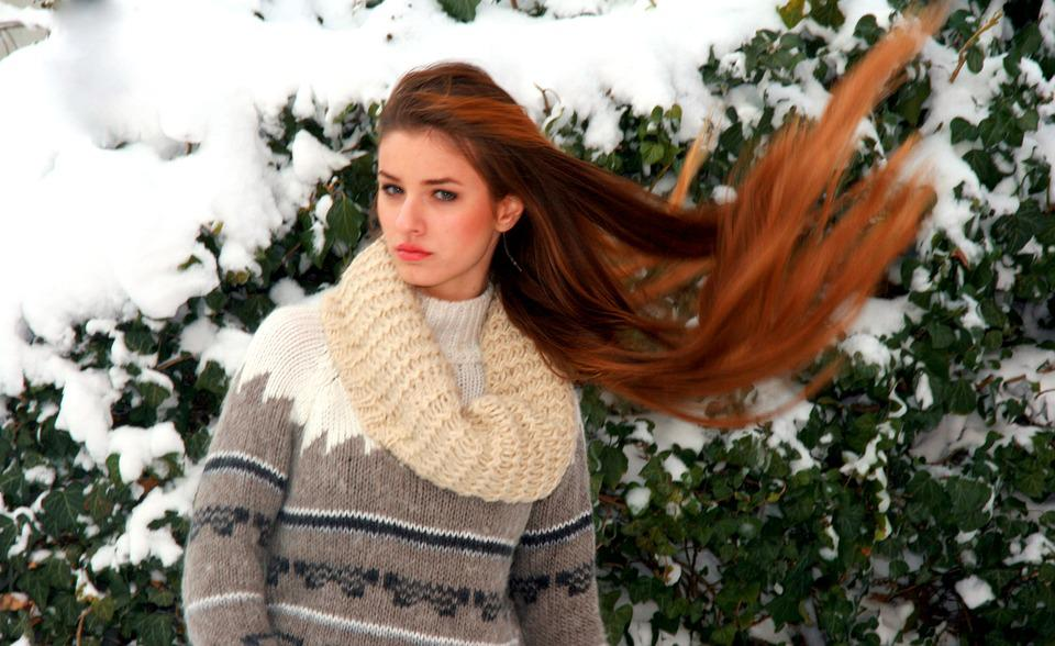 Girl, Long Hair, Blonde, Winter, Snow, Beauty