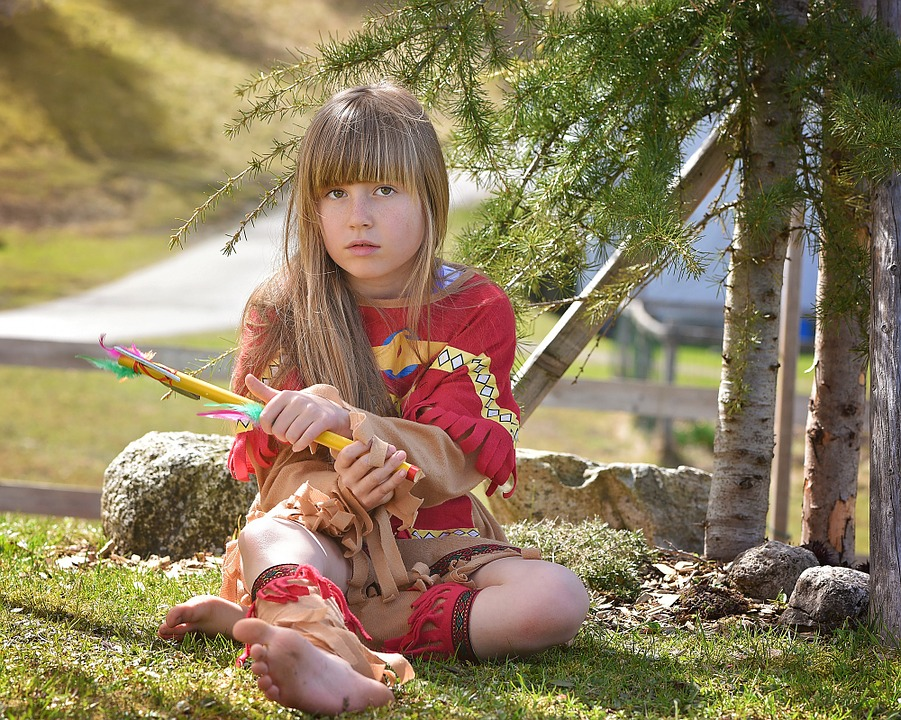Human, Child, Girl, Blond, Long Hair, Face, Indians