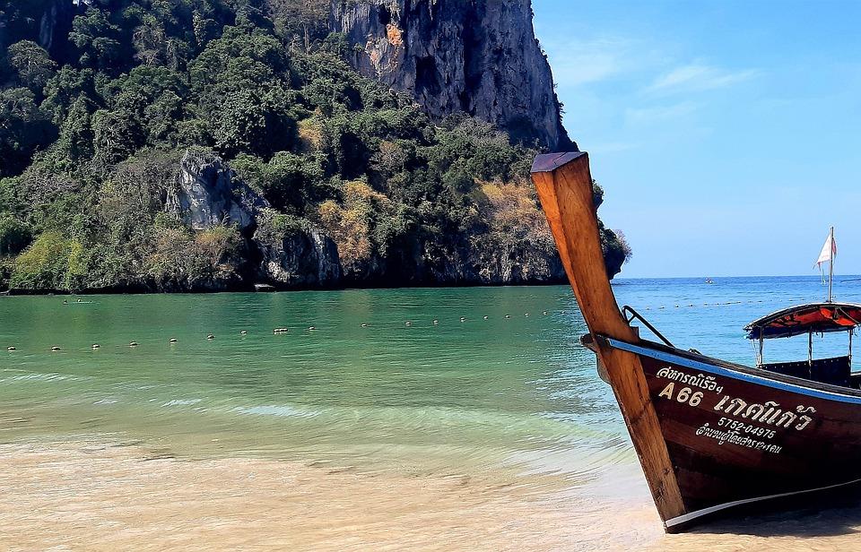 Beach, Thailand, Krabi, Longtail Boat, Island, Sea
