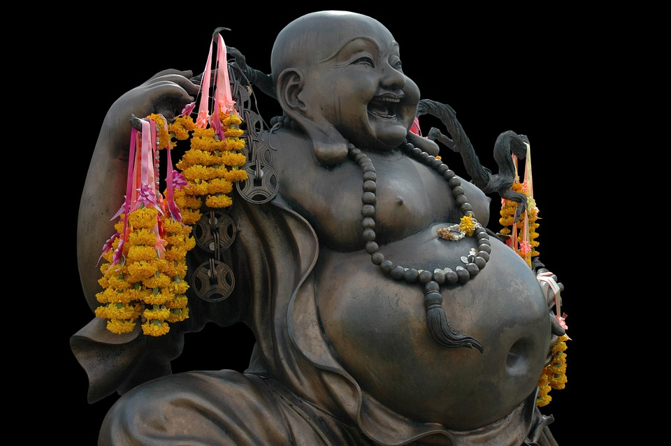 Buddha, Shamanism, Laugh, Look Forward, Obese, Bronze