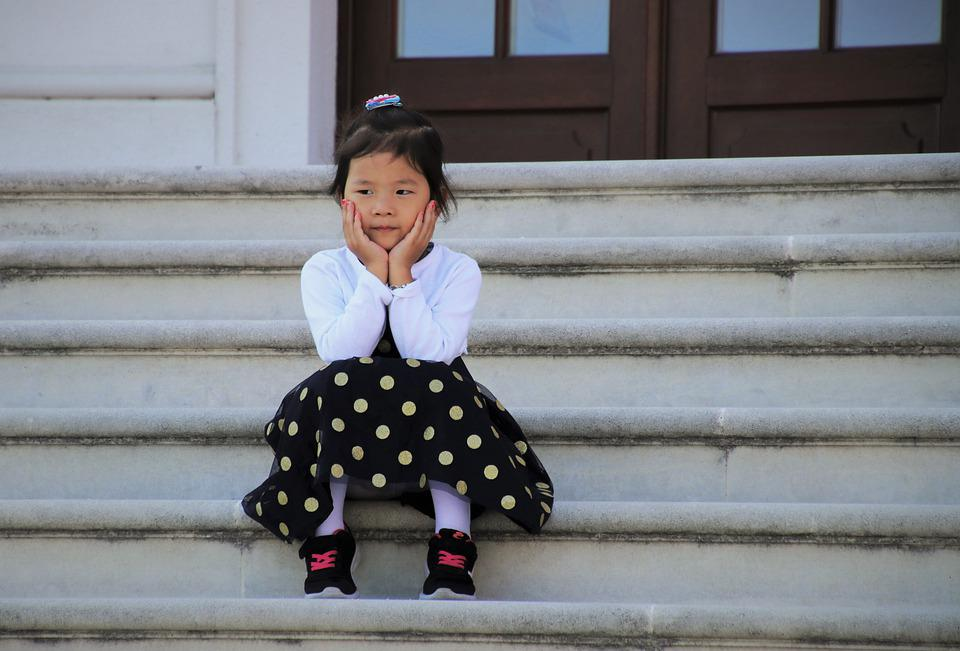 Childhood, Little Girl, Stairs, Dots, Nice, Dress, Look
