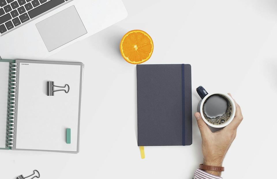 Workspace, Desktop, Coffee, Looking Down, Keyboard