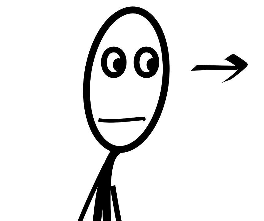 Stick, Male, Figure, Looking, Right, Look, Listen