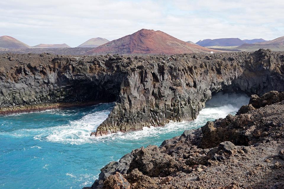 Los Hervideros, Lanzarote, Cave, Surf, Spray
