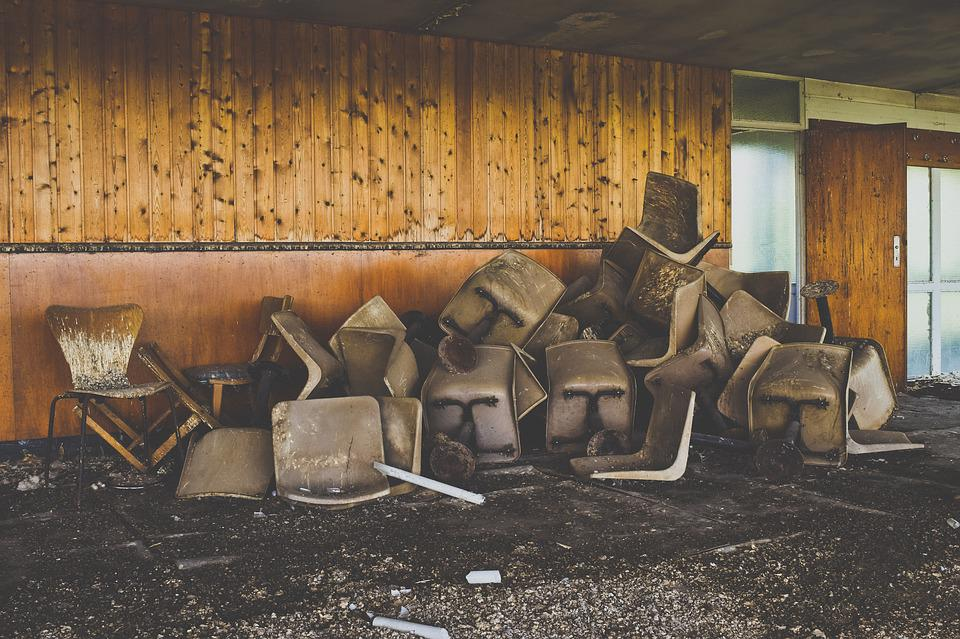 Lost Places, Building, Chairs, Abandoned, Broken