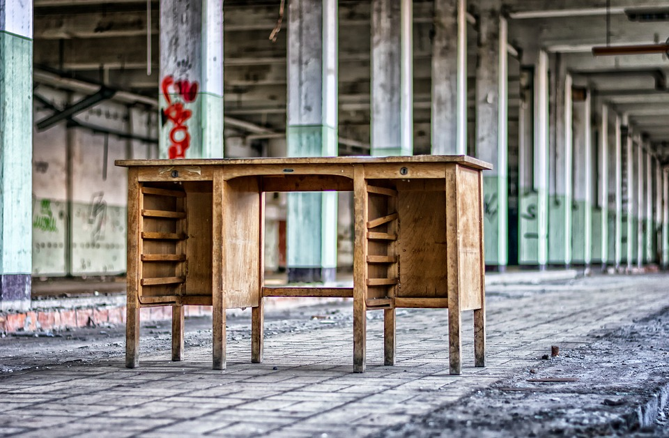 Lost Places, Hall, Columnar, Desk, Office, Pforphoto