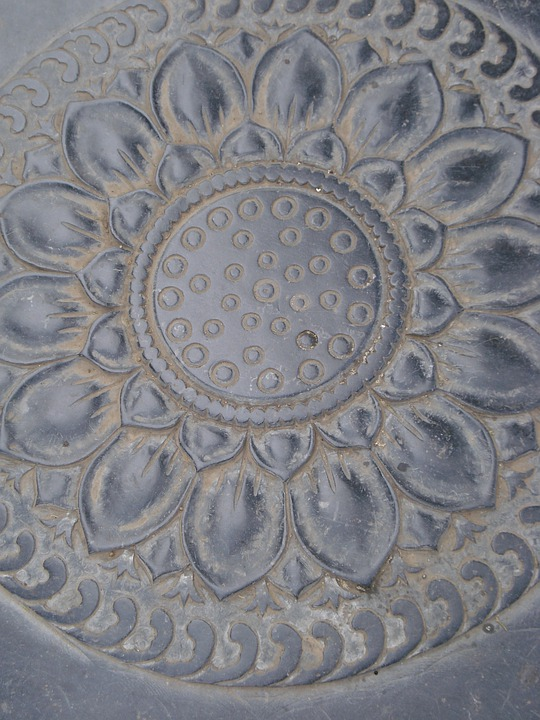 Low Relief, Sculpture, Pierre, Grey, Lotus, China