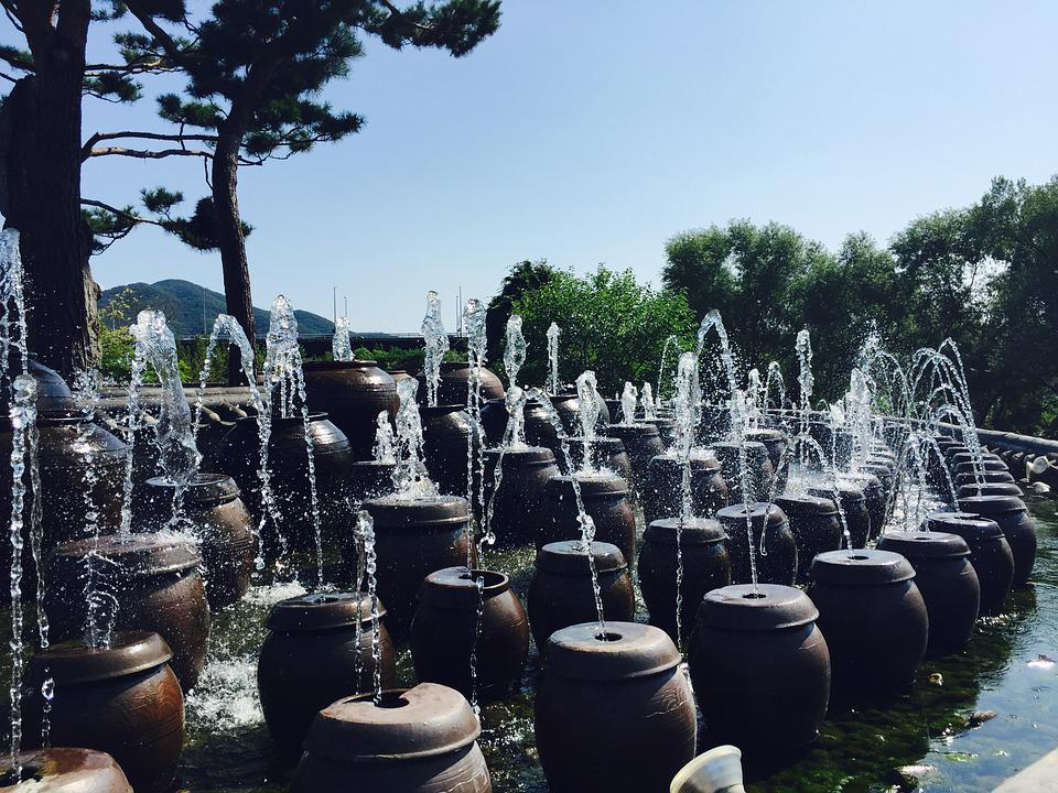 Korea, Semi Circle, Fountain, Jar, Summer, Water, Lotus