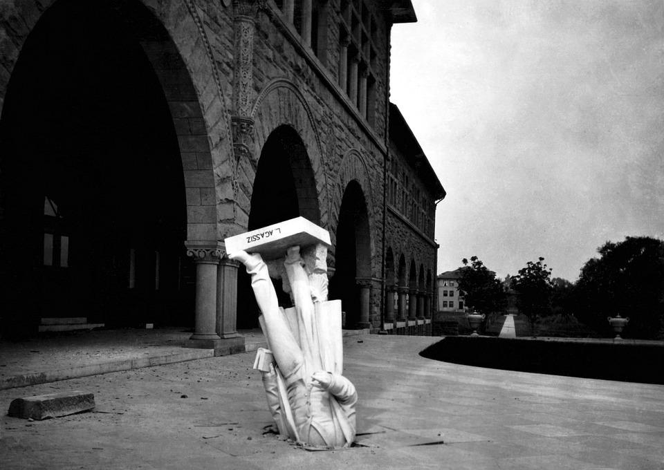 Earthquake, Louis Agassiz, Statue, Stanford University